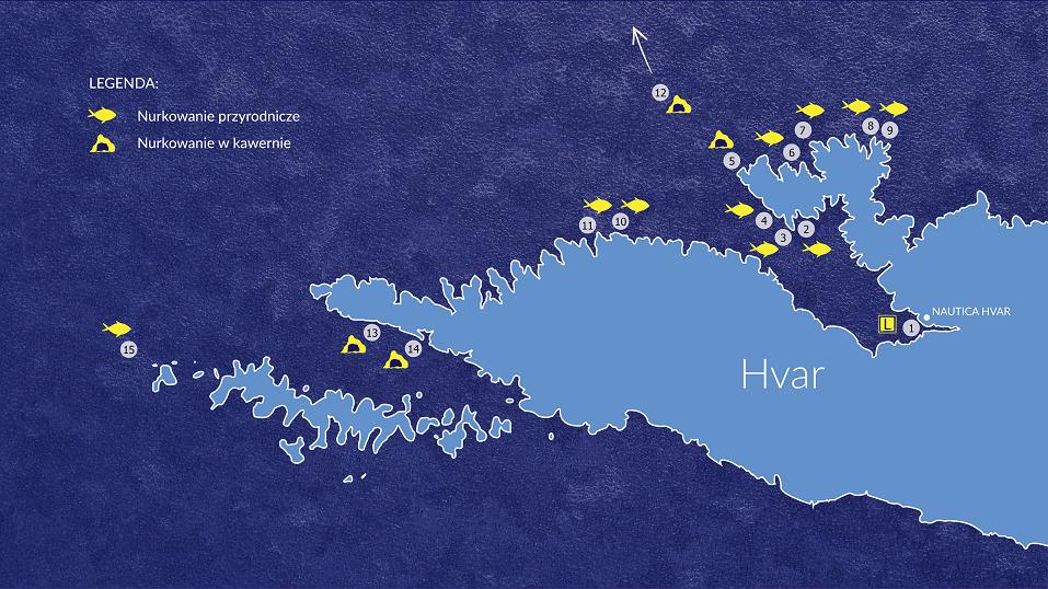 Miejsca nurkowe na wyspie Hvar -